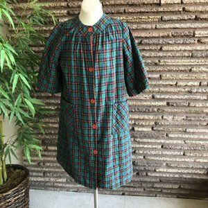 Vintage 1960s Plaid Quilted House Coat Robe